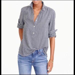 J. Crew Women's Popover Shirt Micro Gingham Sz 2